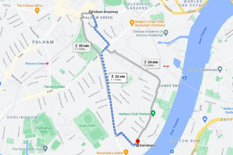 Fulham Broadway to Sainsburys